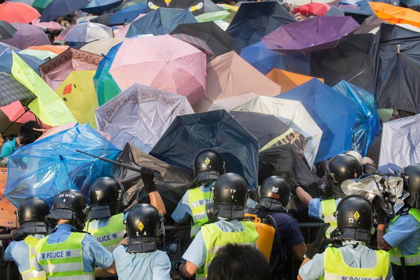 Hong Kong riot police at Umbrella Revolution protest - Derek Yung