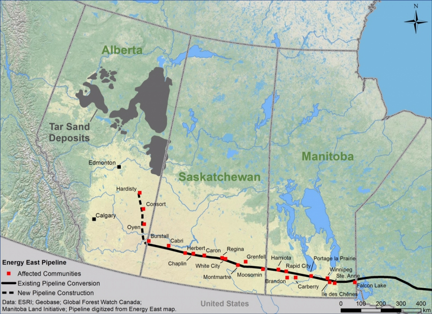 Energy East Map - Alberta Saskatchewan Manitoba - Council of Canadians