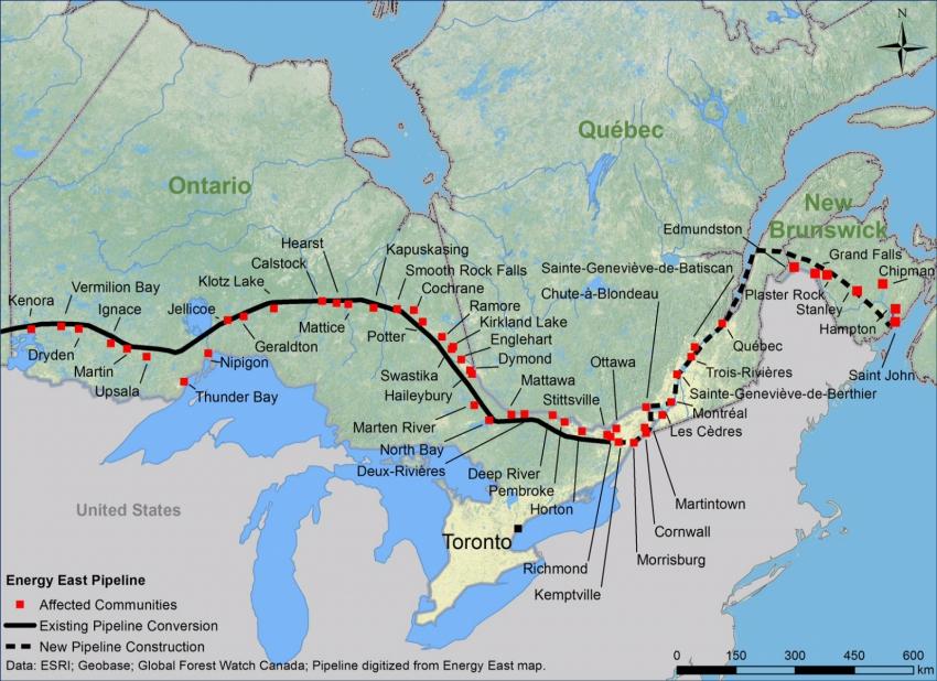 Energy East Map - Alberta Saskatchewan Manitoba - Council of Canadians