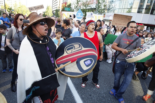 First Nations drummers on street after Northern Gateway decision - Mychaylo Prys