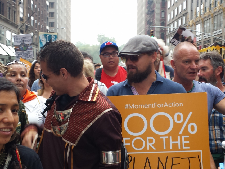 Leonardo DiCaprio at Peoples' Climate March. Photo by Linda Solomon Wood