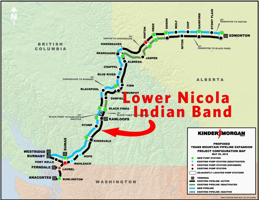 Map LNIB Lower Nicola Indian Band Kinder Morgan Trans Mountain pipeline