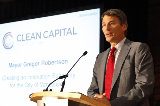 "Vancouver Mayor Gregor Robertson speaking at ""Clean Capital"" conference on green"
