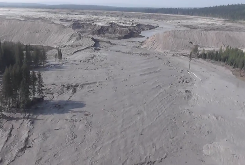 Mount Polley tailings pond photo by Farhan Umedaly, Vovo Productions