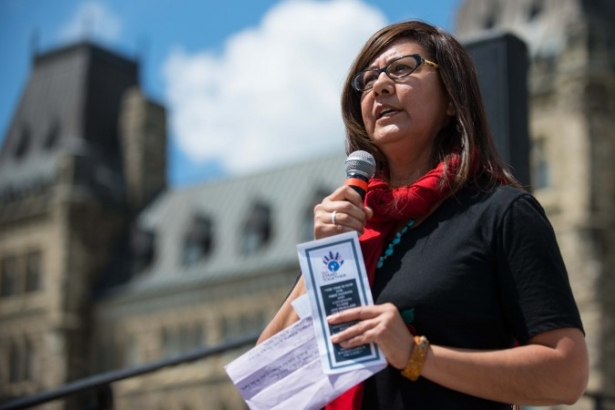 Brenda Sayers speaks on Parliament Hill