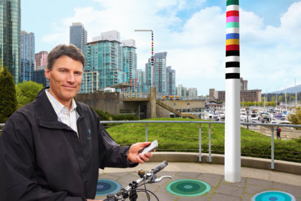 Mayor Gregor Robertson and a V-Pole: Artist's rendition