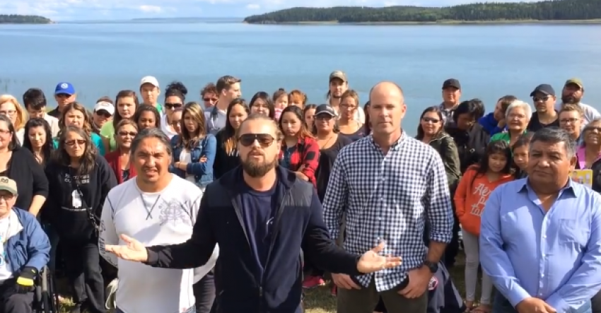 Leonardo DiCaprio with Indigenous leaders in Fort Chipewyan