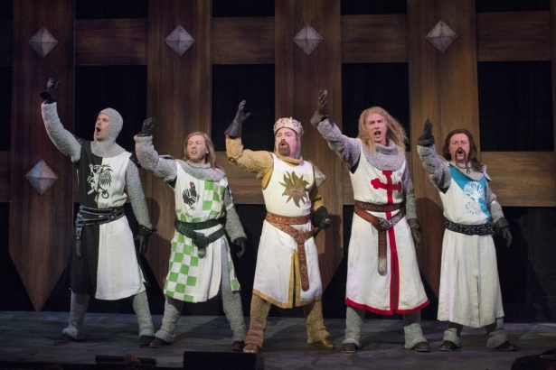 The Knights of Camelot—in Monty Python's Spamalot. Photo by David Cooper.