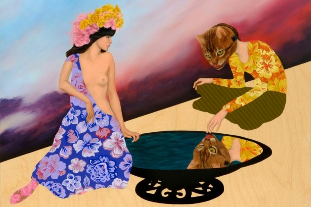 "Roselina Hung's ""Bizarre Love Triangle"" 2011.  Oil on wood panel."