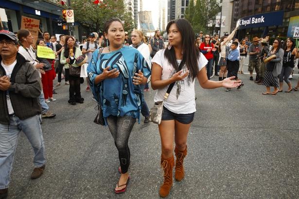 Squaimish sisters Amamanda and Marissa Nahanee Nahanee - dancing downtown Vancou