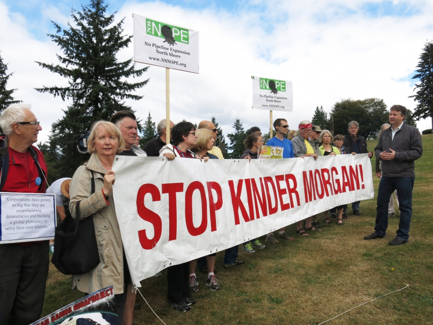 STOP KINDER MORGAN sign at Burnaby Mountain and Kennedy Stewart