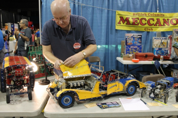 Fred of the BC Meccano Club working on his Hot Rod at Vancouver Mini Maker Faire