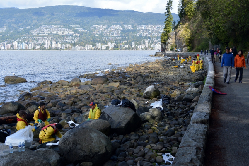 English Bay oil spill, fuel spill, bunker fuel, Coast Guard