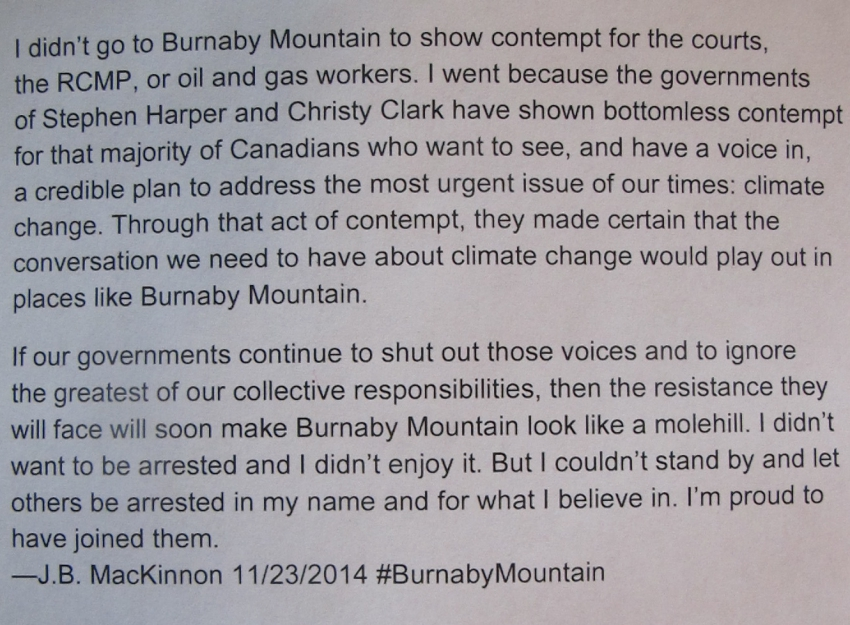 J.B. MacKinnon's statement on Burnaby Mountain arrest protesting Kinder Morgan