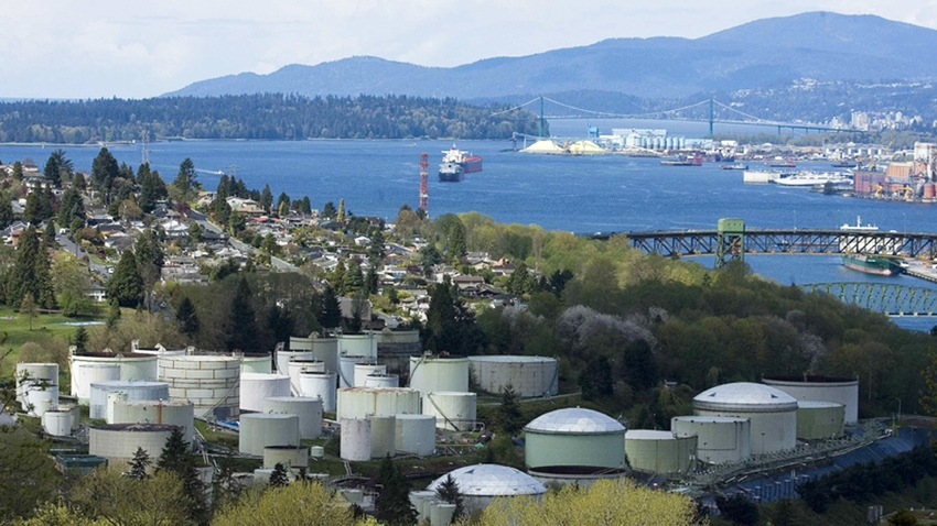 Burnaby refinery and Burrard inlet. Photo from Green Party of Vancouver