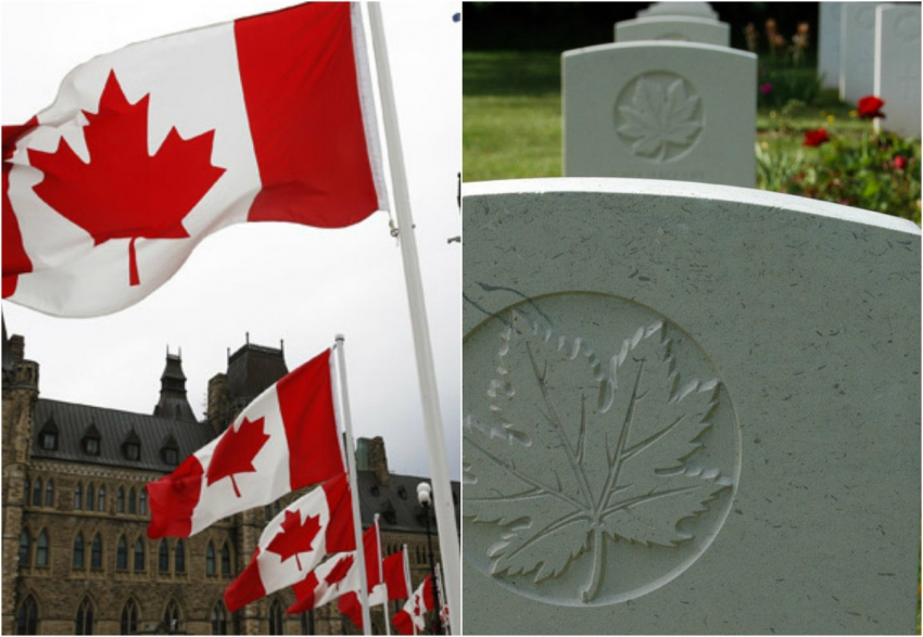 Left:  Flags flying on Parliament Hill. Right: maple leaf engraved on grave mark