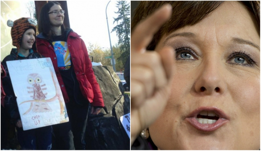 Left: Kate Fink-Jensen and her mother, Kim. Right: Premier Christy Clark