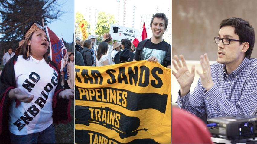 From left: Haisla member in Kitimat; Enbridge protest, Josh Paterson
