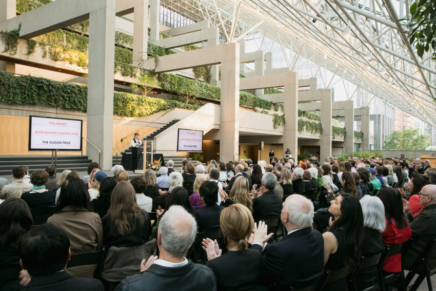 Crowd gathers for awarding of prestigious Vancouver visual arts awards, photo by