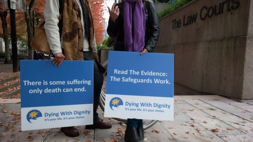 Assisted-suicide supporters outside the B.C. Court of Appeal in 2013.