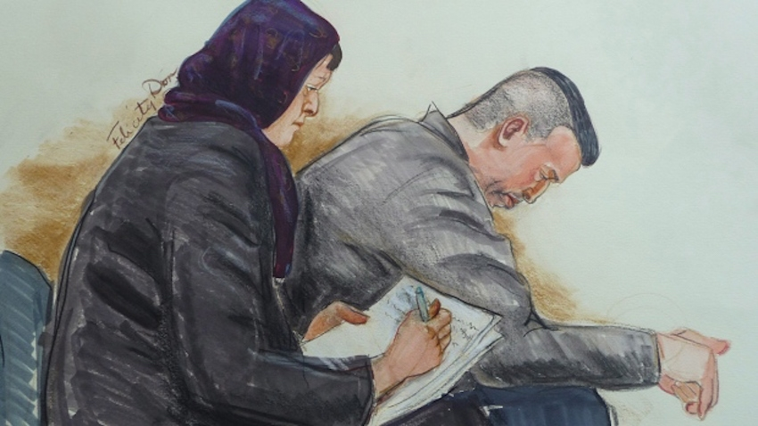 John Nuttall and Amanda Korody in an artist's sketch