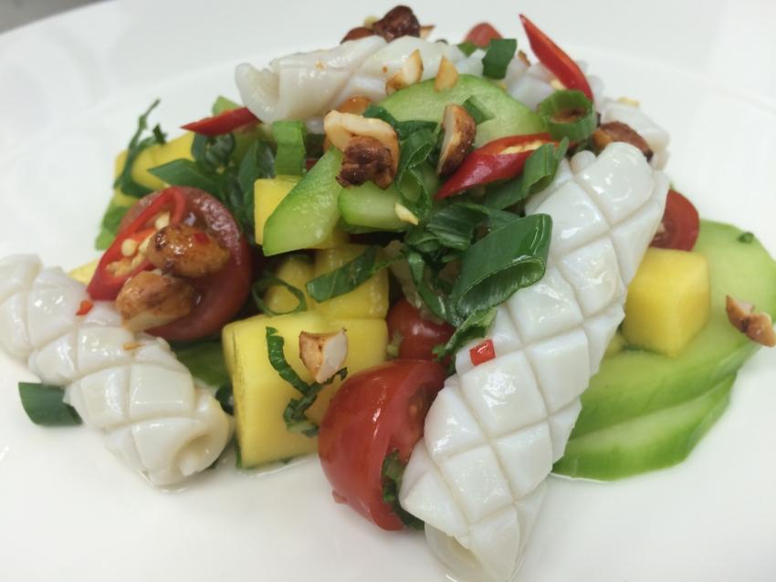 Vietnamese inspired calamari salad with mint and mango