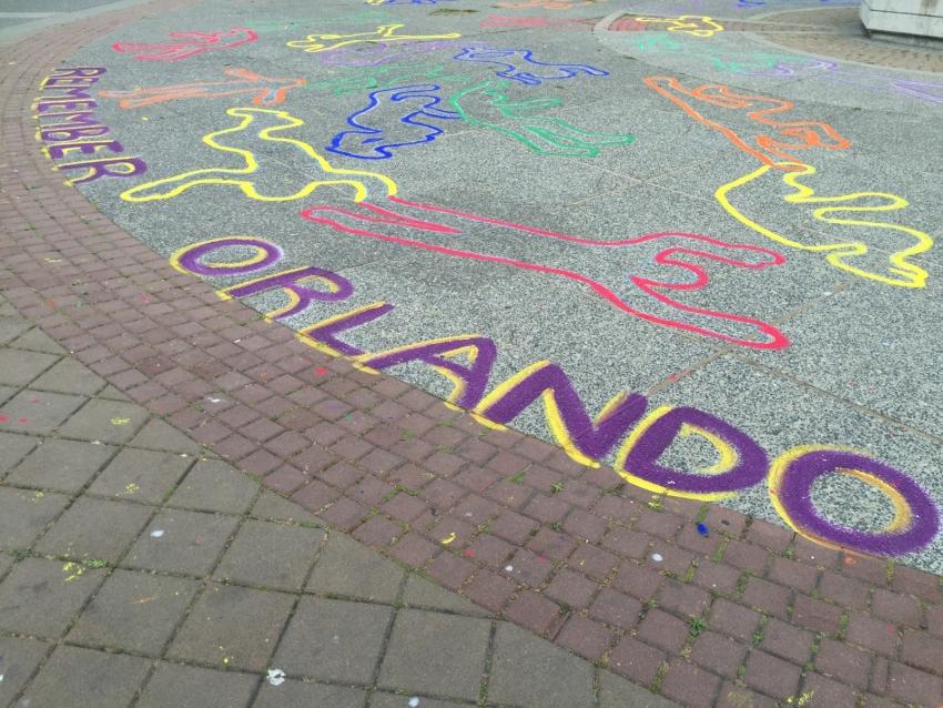 """Remember Orlando"" in chalk"