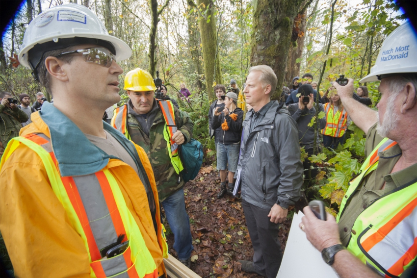 Kinder Morgan workers confronting protesters on Burnaby Mountain.