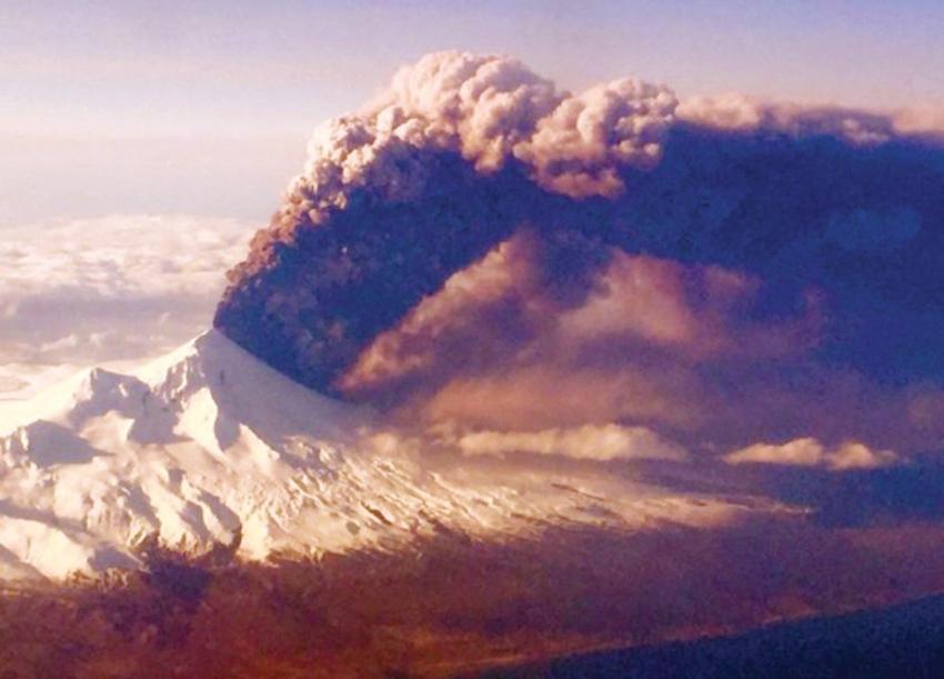 Pavlof Volcano erupting in Alaska on March 26, 2016.