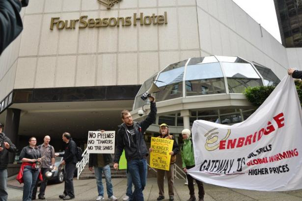Proposed oilsands pipeline protest Vancouver BC