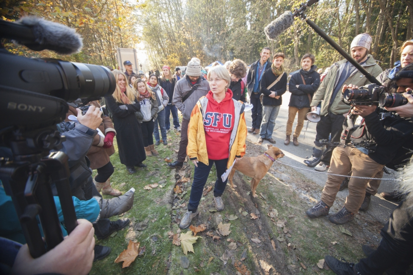 SFU professor Lynne Quarmby reacts to Kinder Morgan injunction Burnaby Mountain
