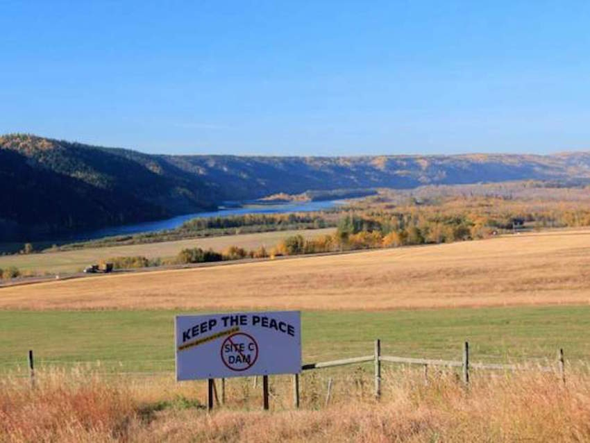 Sign protesting Site C Dam