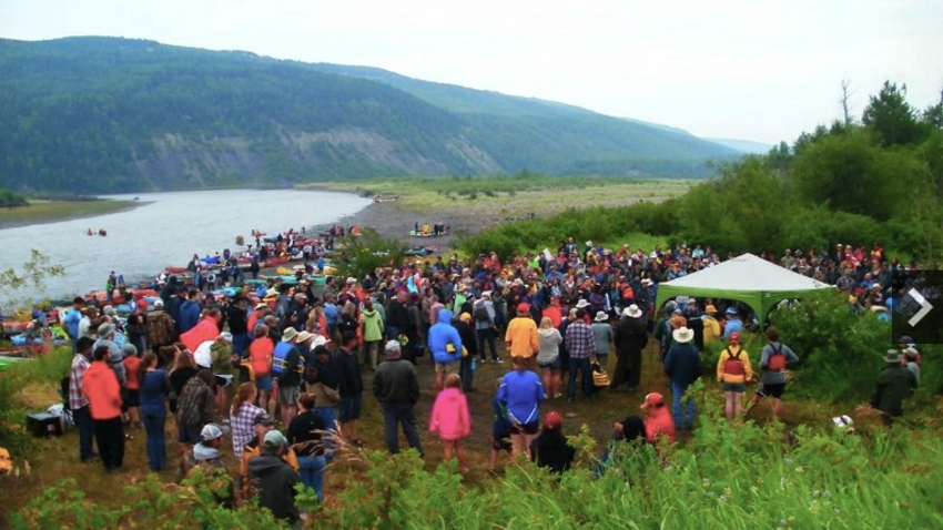 Site C dam protest at the Peace River, July 2015