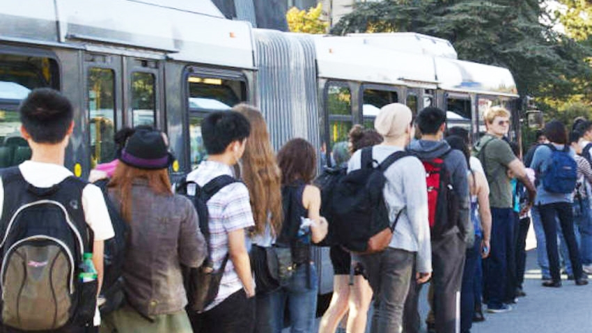 UBC students line up for B-Line bus service. Creative Commons photo