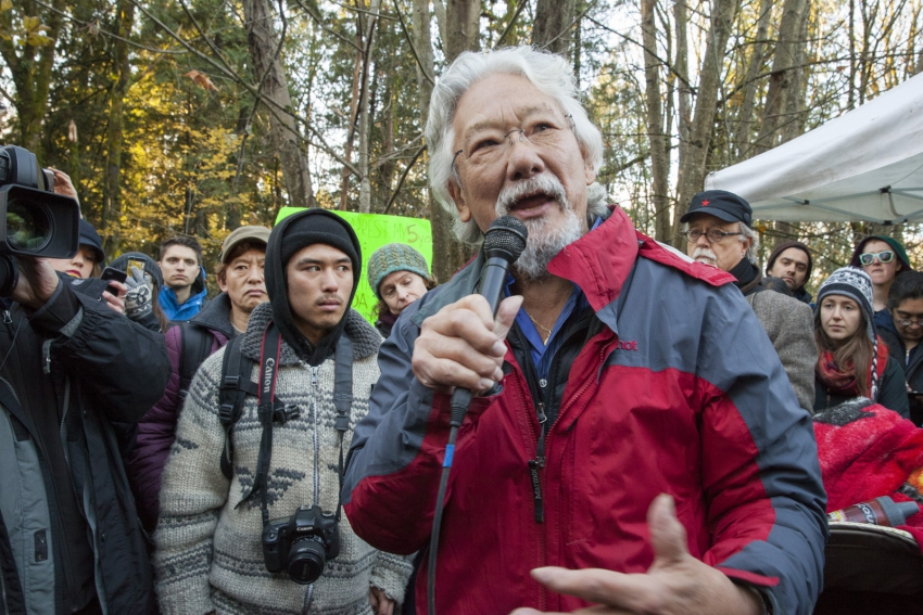 Tamo and David Suzuki Burnaby Mountain Kinder Morgan protest - Mychaylo Prystupa