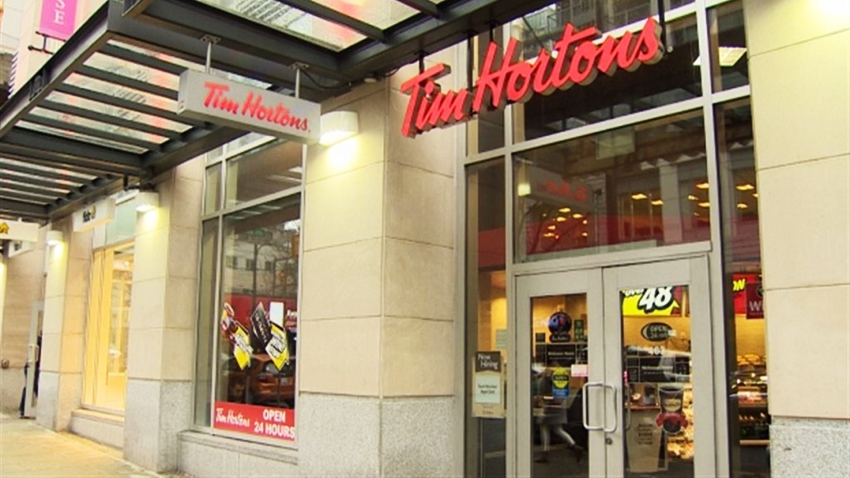 A full-service Vancouver Tim Hortons, on Alberni Street.
