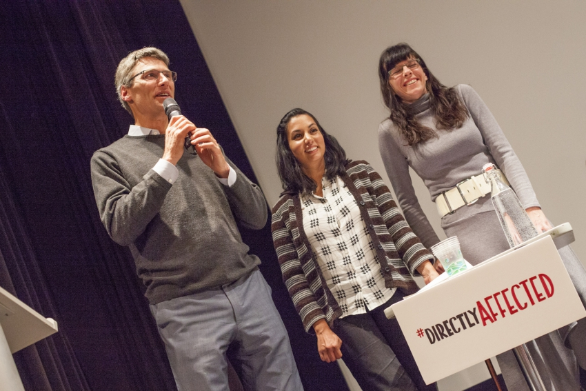 Photo of Mayor Gregor Robertson, city council candidate Niki Sharma and councill