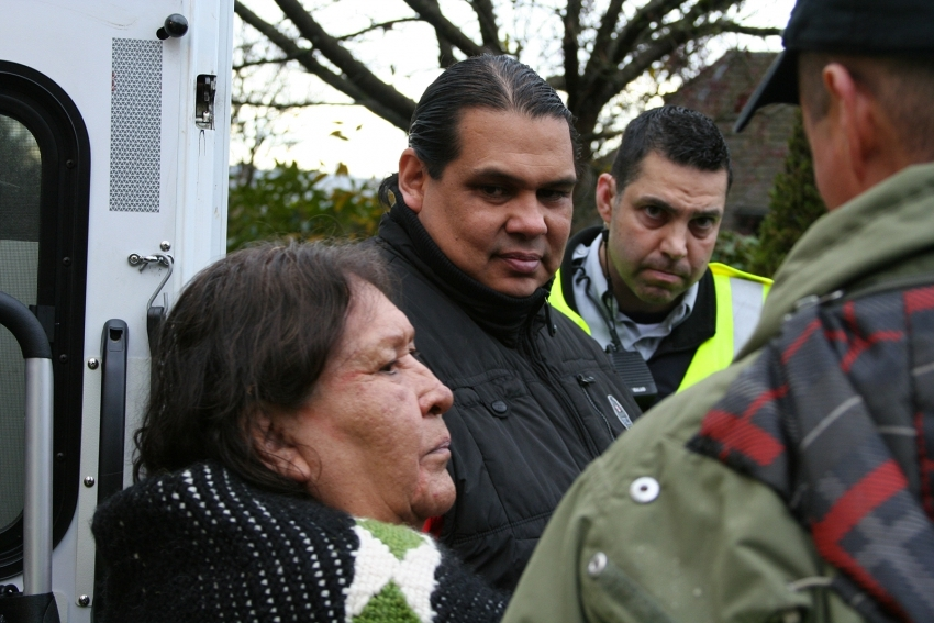 Rueben George and Ta'ah Amy George at the Burnaby Mountain protests