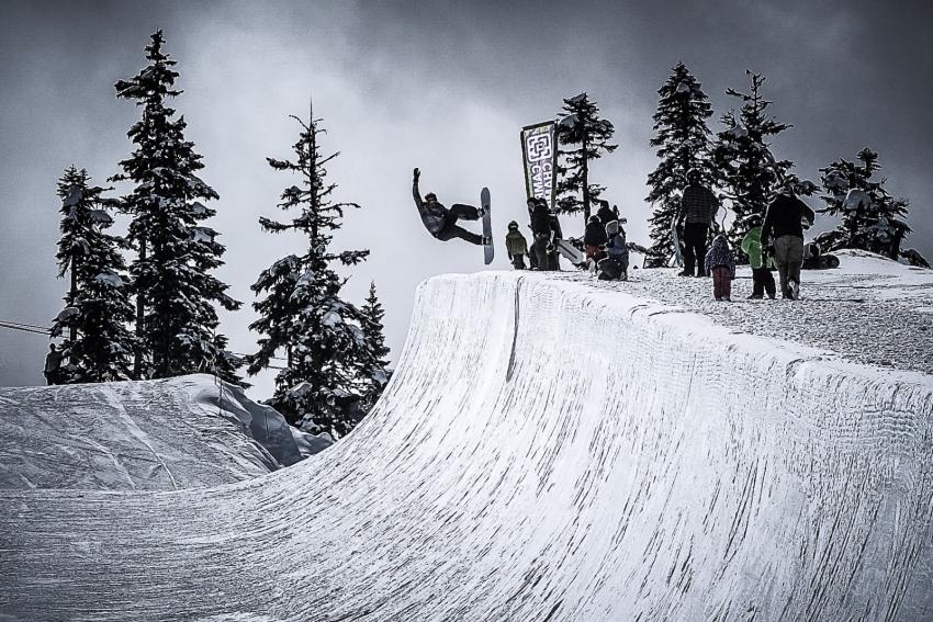 Snowboarder in the Blackcomb Halfpipe, WSSF 2017
