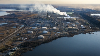 Aerial of Syncrude oil sands facilities near Fort McMurray -  Andrew S. Wright
