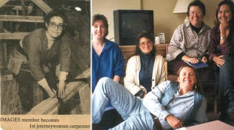Braundy (newspaper clipping at left, 1981, and with trades-sisters, second from