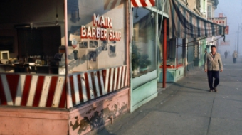 """Main Barber from Sidewalk, 1968"" Fred Herzog, courtesy Equinox Gallery"