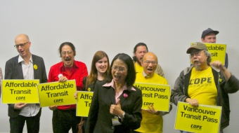 Photo of mayoral candidate Meena Wong at her Main street campaign office by COPE