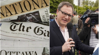 Postmedia newspapers (left) Sun News Network's Ezra Levant (right)