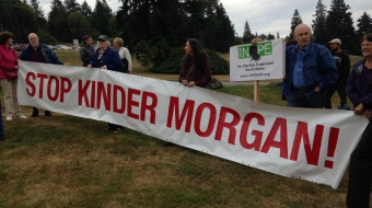 Photo of Burnaby residents protesting Kinder Morgan by Carlos Tello