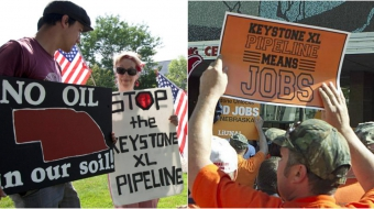 Left: Keystone XL opponents, right: Keystone XL supporters
