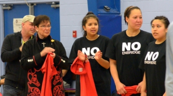 Kitimat Mayor Joanne Monaghan No Enbridge Haisla Basketball Game - Dan Mesec