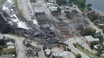 Lac Mégantic after the disaster, image from TSB report