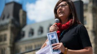 Brenda Sayers speaks on Parliament Hill