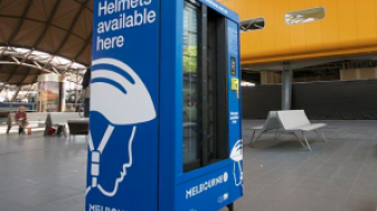 Bike helmet dispenser in Melbourne